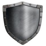 Geïsoleerd metaal middeleeuws schild royalty-vrije stock afbeeldingen