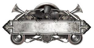Geïsoleerd metaalkader en oude autovervangstukkenauto Royalty-vrije Stock Foto's