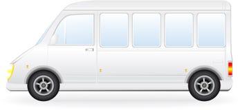 Geïsoleerd? minibussilhouet op witte achtergrond Stock Fotografie