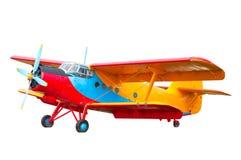 Geïsoleerd model van oud tijd uitstekend Russisch sovjetvliegtuig of bi stock foto's