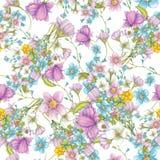 Geïsoleerd naadloos patroon van wildflowers op witte achtergrond Stock Afbeelding