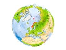 Geïsoleerd Noorwegen op bol Stock Afbeeldingen