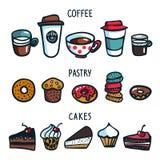 Geïsoleerd op wit De kleurrijke reeks van de krabbelstijl voorwerpen op koffiethema Koffiekoppen, gebakje en cakes op witte achte royalty-vrije illustratie