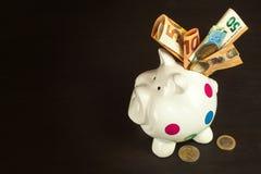Geïsoleerd op wit Geld-doos met geldige euro bankbiljetten Besparingen op de hypotheek Banksector Stock Fotografie