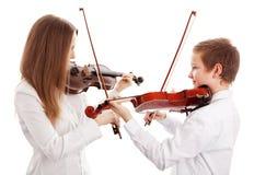 Het duet van de viool stock foto