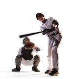 Geïsoleerd op witte professionele honkbalspelers stock fotografie