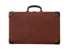 Geïsoleerd Oud Uitstekend Dusty Brown Suitcase Royalty-vrije Stock Fotografie
