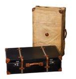 Geïsoleerd Paar Uitstekende Koffers op een Witte Achtergrond Royalty-vrije Stock Afbeeldingen