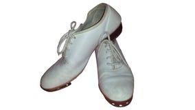 Geïsoleerd paar versleten belemmerende schoenen voor tapdans of belemmeringsdans stock fotografie
