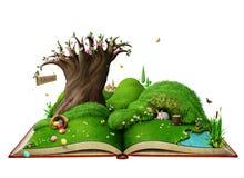 Geïsoleerd Pasen-de Lentelandschap op het boek stock illustratie