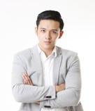 Geïsoleerd portret van de Aziatische Mens en Achtergrond met Gebaarteken Stock Foto