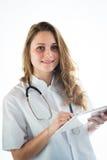 Geïsoleerd portret van een jonge meisjes medische student Royalty-vrije Stock Foto