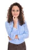 Geïsoleerd portret van een jonge onderneemster voor een kandidatuur of stock afbeelding