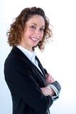 Geïsoleerd portret van een mooie jonge uitvoerende vrouw Royalty-vrije Stock Fotografie