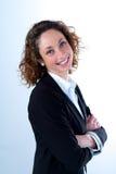 Geïsoleerd portret van een mooie jonge uitvoerende vrouw Royalty-vrije Stock Foto