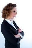 Geïsoleerd portret van een mooie jonge uitvoerende vrouw Stock Afbeeldingen