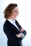 Geïsoleerd portret van een mooie jonge uitvoerende vrouw Stock Afbeelding