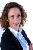 Geïsoleerd portret van een mooie jonge uitvoerende vrouw Stock Fotografie