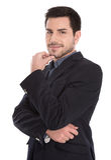 Geïsoleerd portret van knappe jonge succesvolle manager op wit. stock afbeelding
