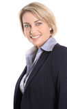 Geïsoleerd portret van rijpe blonde succesvolle glimlachende manager. stock fotografie