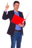 Geïsoleerd portret van zakenman met omslag, stock afbeeldingen