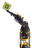 Geïsoleerd robotwapen en chip Stock Afbeelding