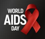Geïsoleerd rood lint met de witte Dag van AIDS van de tekstwereld op grijze achtergrond, HIV Voorlichtings vectorembleem, eindeai Stock Fotografie