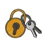 Geïsoleerd sleutels en hangslotontwerp vector illustratie