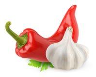 Geïsoleerd Spaanse peper en knoflook royalty-vrije stock foto's