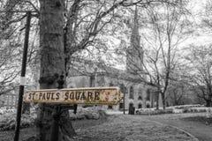 Geïsoleerd St Pauls Square British Vintage Street Teken Royalty-vrije Stock Afbeelding