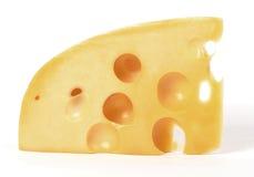 Geïsoleerd stuk van kaas royalty-vrije stock afbeeldingen
