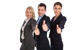 Geïsoleerd succesvol commercieel team: man en vrouw met omhoog duimen Stock Afbeeldingen