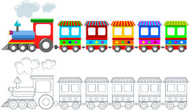 Geïsoleerd Toy Colorful Train Coloring Page Royalty-vrije Stock Foto's