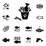 Geïsoleerd vissen Vectorpictogram Stock Afbeelding