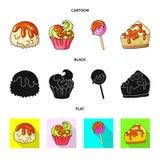 Geïsoleerd voorwerp van banketbakkerij en culinair symbool Inzameling van banketbakkerij en productvoorraad vectorillustratie vector illustratie
