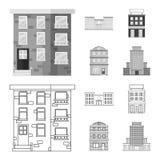 Geïsoleerd voorwerp van gemeentelijk en centrumembleem Inzameling van gemeentelijk en landgoed vectorpictogram voor voorraad stock illustratie