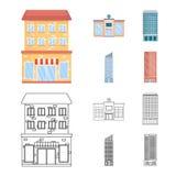 Geïsoleerd voorwerp van gemeentelijk en centrumsymbool Inzameling van gemeentelijk en landgoed vectorpictogram voor voorraad vector illustratie