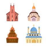 Ge?soleerd voorwerp van godsdienst en de bouwembleem Inzameling van godsdienst en geloofs vectorpictogram voor voorraad stock illustratie