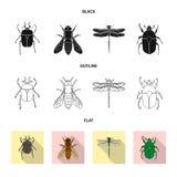 Geïsoleerd voorwerp van insect en vliegteken Inzameling van insect en elementenvoorraadsymbool voor Web stock illustratie