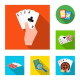 Geïsoleerd voorwerp van spel en magisch embleem Reeks van spel en pookvoorraadsymbool voor Web stock illustratie