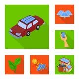 Geïsoleerd voorwerp van Zonne en paneelsymbool Inzameling van Zonne en groene voorraad vectorillustratie vector illustratie