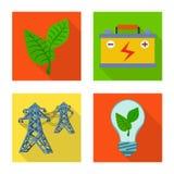 Geïsoleerd voorwerp van Zonne en paneelteken Inzameling van Zonne en groen voorraadsymbool voor Web royalty-vrije illustratie