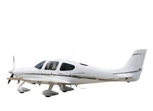Geïsoleerd wit steunvliegtuig Stock Fotografie