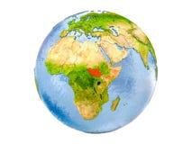 Geïsoleerd Zuid-Soedan op bol Royalty-vrije Stock Fotografie