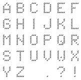 Geïsoleerd zwart die pixelalfabet van zwarte met de hand gemaakte pijlen wordt gemaakt Stock Afbeeldingen