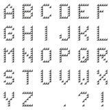 Geïsoleerd zwart die pixelalfabet van zwarte met de hand gemaakte pijlen wordt gemaakt stock illustratie