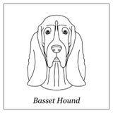 Geïsoleerd zwart overzichtshoofd van basset hond op witte achtergrond Het portret van de het rassenhond van het lijnbeeldverhaal Royalty-vrije Stock Afbeeldingen