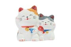 2 leuke Japanse kattenpoppen Royalty-vrije Stock Afbeeldingen