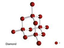 Geïsoleerdd 3D model van een kristalrooster van diamant Stock Fotografie