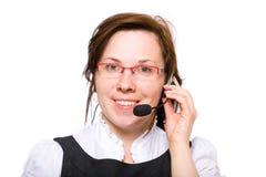 Geïsoleerdd wijfje met rode glazen en hoofdtelefoons, Stock Fotografie